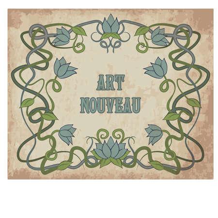 アールヌーボースタイルのイラストの花の背景  イラスト・ベクター素材