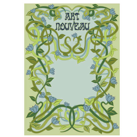 Floral greeting card in art nouveau style, vector illustration Illustration