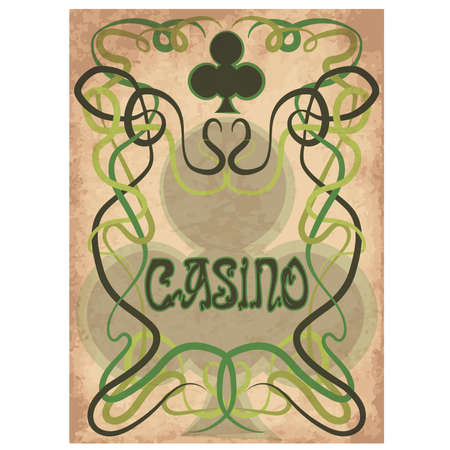 Casino Poke clubs card in art nouveau style, vector illustration.