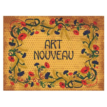 Floral wheaten wallpaper in art nouveau style