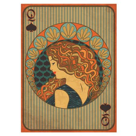 Queen poker spades card in art nouveau style vector illustration 일러스트