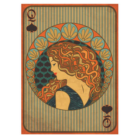Queen poker spades card in art nouveau style vector illustration 向量圖像