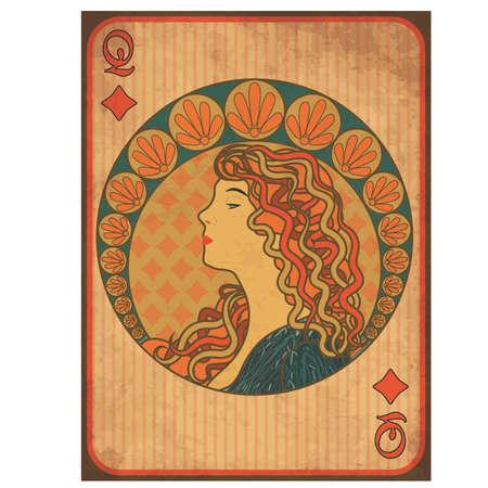Queen poker diamonds card in art nouveau style, vector illustration