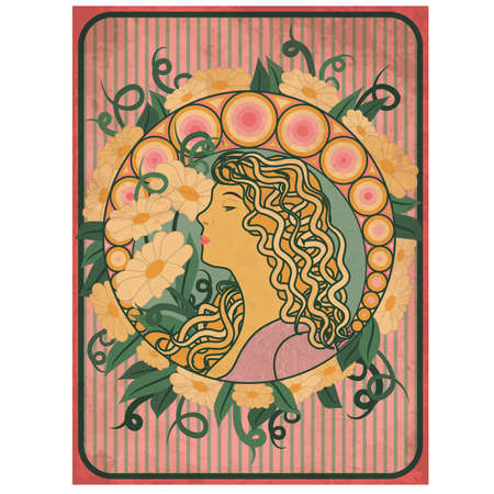 Spring girl card in art nouveau style vector illustration Vettoriali