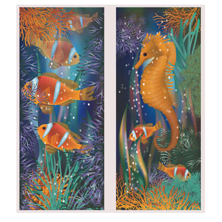 Underwater banner with horsefish and clownfish, vector illustration Banque d'images - 97070894