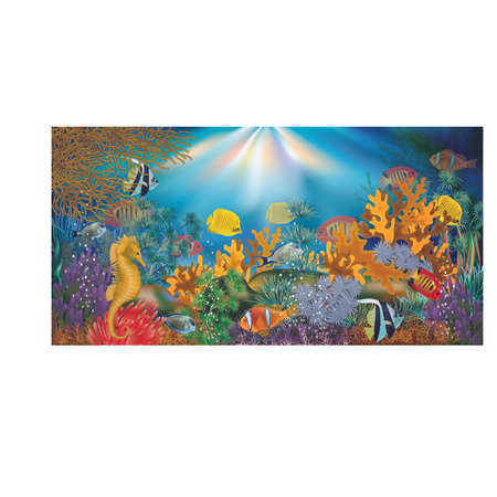 With tropical fish underwater wallpaper, vector illustration