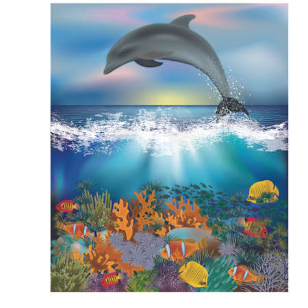 Underwater background with dolphin and tropical fish, vector illustration.