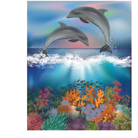 Tropical underwater background with Dolphins, vector illustration