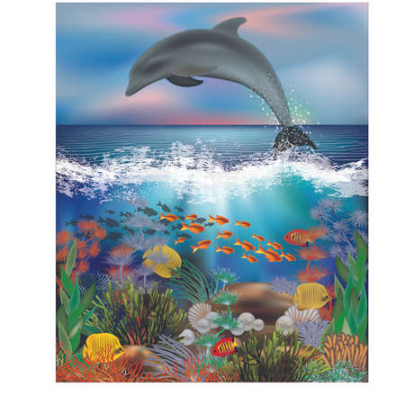 Tropical underwater background with dolphin and pearls, vector illustration.
