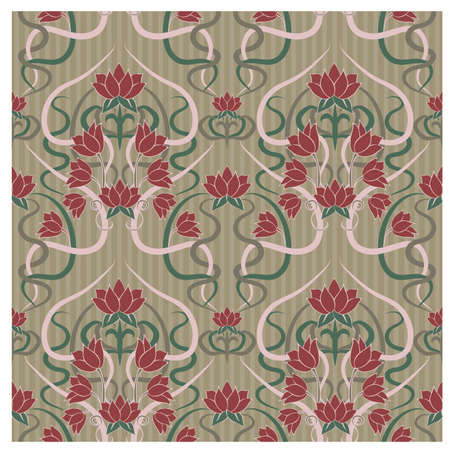 Floral seamless pattern in art nouveau style, vector illustration