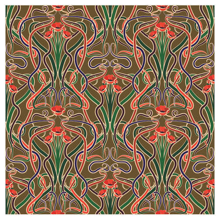 Seamless pattern with poppy flowers in art nouveau style, vector illustration. Vectores