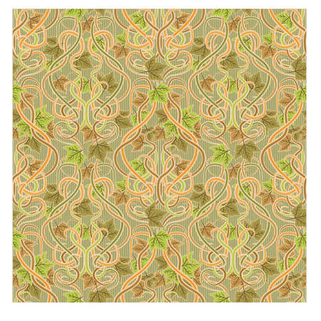 Seamless wallpaper with leaves in art nouveau style, vector illustration Illustration