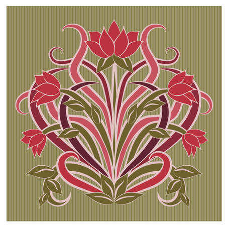 Floral wallpaper in art nouveau style, vector illustration Illustration