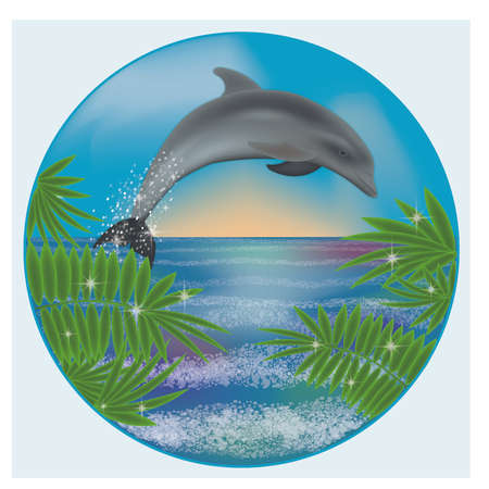 Underwater sunrise card with dolphin and palm, vector illustration Stock Illustratie