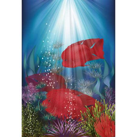 Underwater banner with fish Herichthys Carpintis Super Red, vector illustration Vetores
