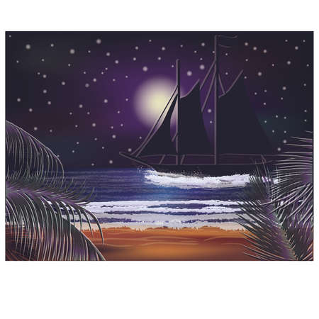 Tropical wallpaper with sailing vessel, vector illustration