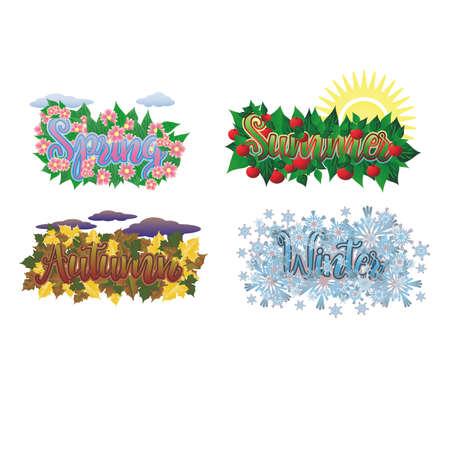 Four seasons cards, vector illustration Ilustração