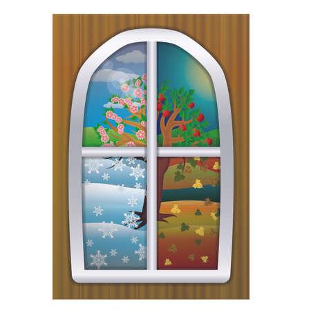 Four Seasons window banner, vector illustration