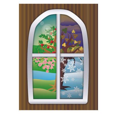 Four seasons window background, vector illustration Vetores