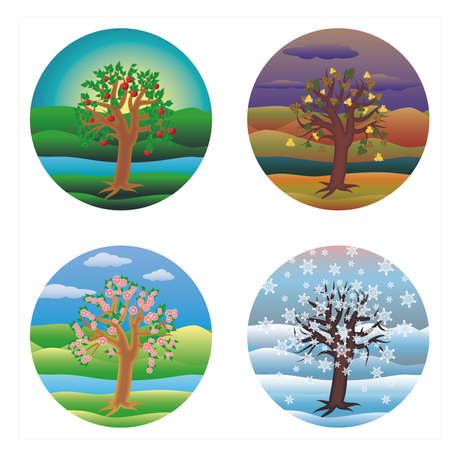 Four seasons invitation cards, vector illustration Illustration