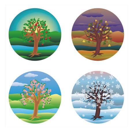 Four seasons invitation cards, vector illustration Çizim