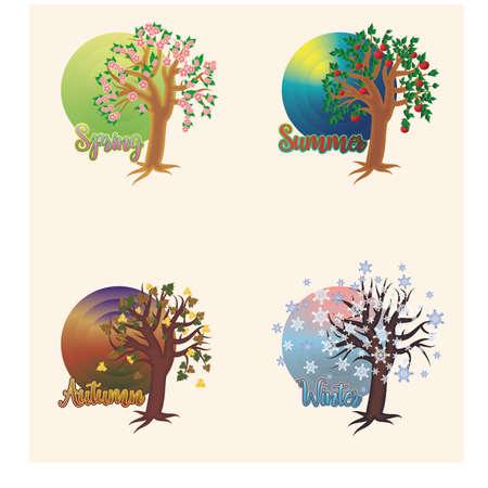 Four seasons invitation cards, vector illustration