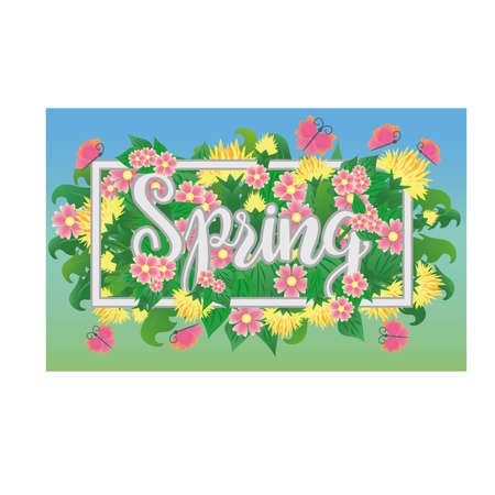 Season spring time banner, vector illustration