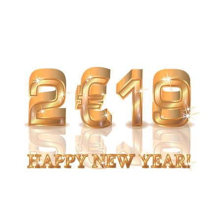 Happy golden euro new 2019 year, vector illustration