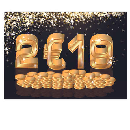 Golden euro new year 2019, greeting card, vector illustration