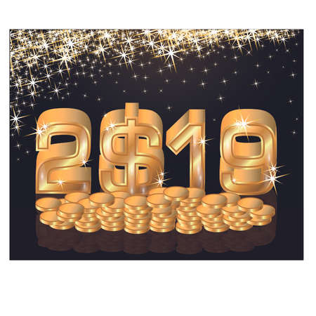 Golden new year 2019 with dollars, vector illustration