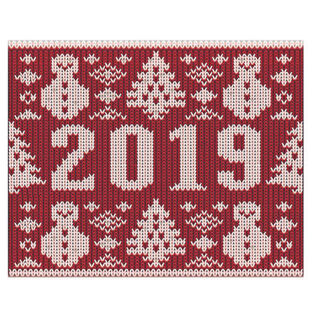 Christmas jumper fragment with 2019 New Year knitted texture, vector illustration