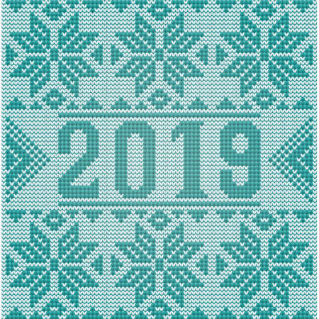 Happy 2019 New Year knitted greeting card, vector illustration Ilustrace