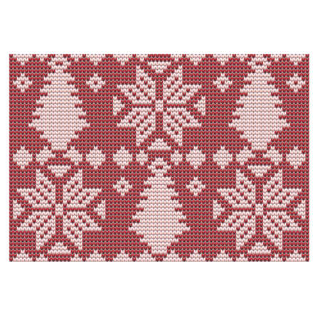 Winter holidays knitted banner, vector illustration Illustration
