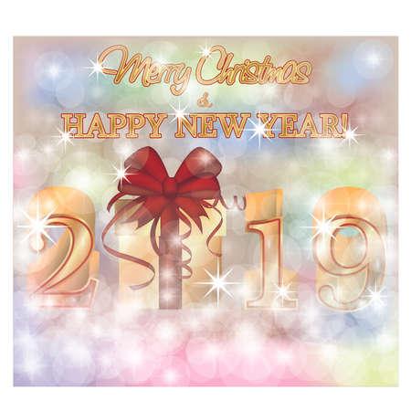 Merry Christmas Happy 2019 New Year golden wallpaper, vector illustration