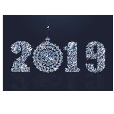 Diamond wallpaper with xmas ball, Happy New Year 2019, vector illustration