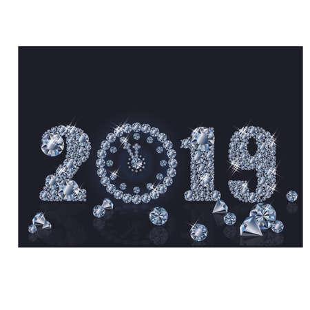 Fond d'écran de diamant avec horloge de Noël, bonne année 2019, illustration vectorielle