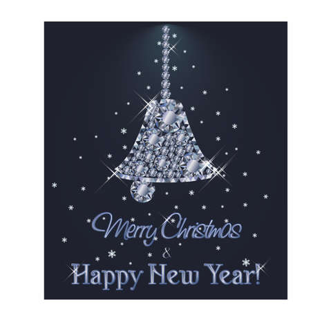 Merry Christmas and Happy New Year Diamond card with xmas bell, vector illustration