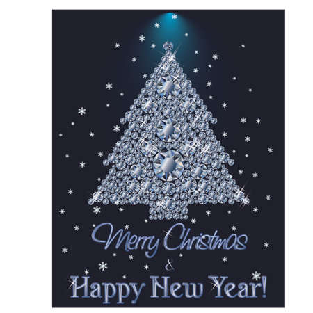 Merry Christmas and Happy New Year Diamond banner with xmas tree, vector illustration