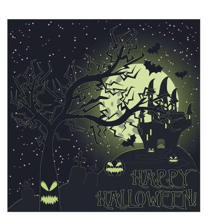 Happy Halloween greeting card, vector illustration