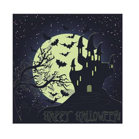 Happy Halloween invitation card, vector illustration Illustration