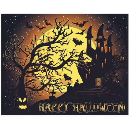Glückliche Halloween-Geschenkkarte, Vektorillustration Vektorgrafik