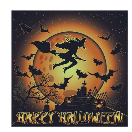 Happy Halloween card with cemetery and witch on a broomstick, vector illustration