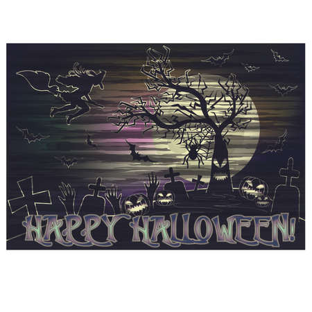 Happy Halloween card with witch on a broomstick, vector illustration