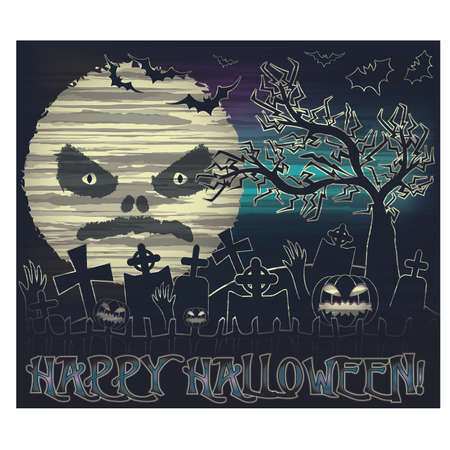 Happy Halloween banner with moon and cemetery, vector illustration