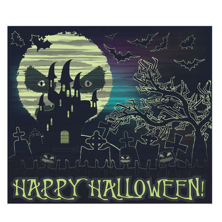 Happy Halloween wallpaper with moon and castle, vector illustration Ilustração