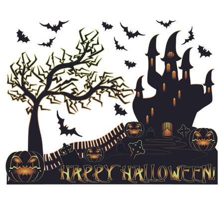 Happy Halloween card with castle and cemetery, vector illustration