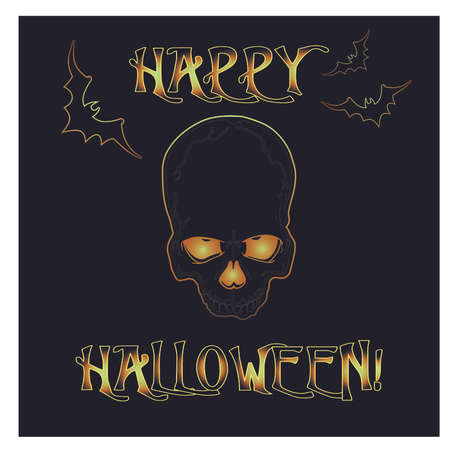 Happy Halloween invitation card with zombie skull, vector illustration Illustration