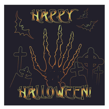 Happy Halloween invitation card with zombie hand, vector illustration