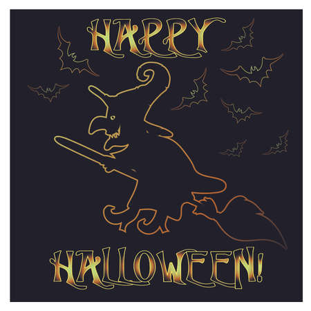 Happy Halloween greeting card with witch, vector illustration