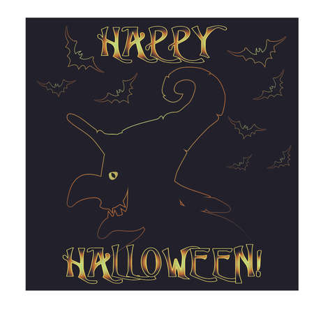 Happy Halloween invitation card with witch, vector illustration